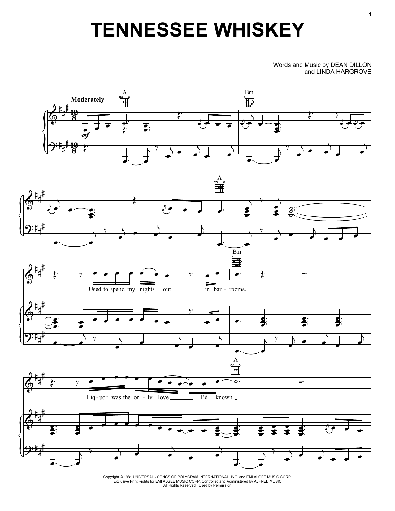 Chris Stapleton (Smooth As) Tennessee Whiskey sheet music notes and chords. Download Printable PDF.