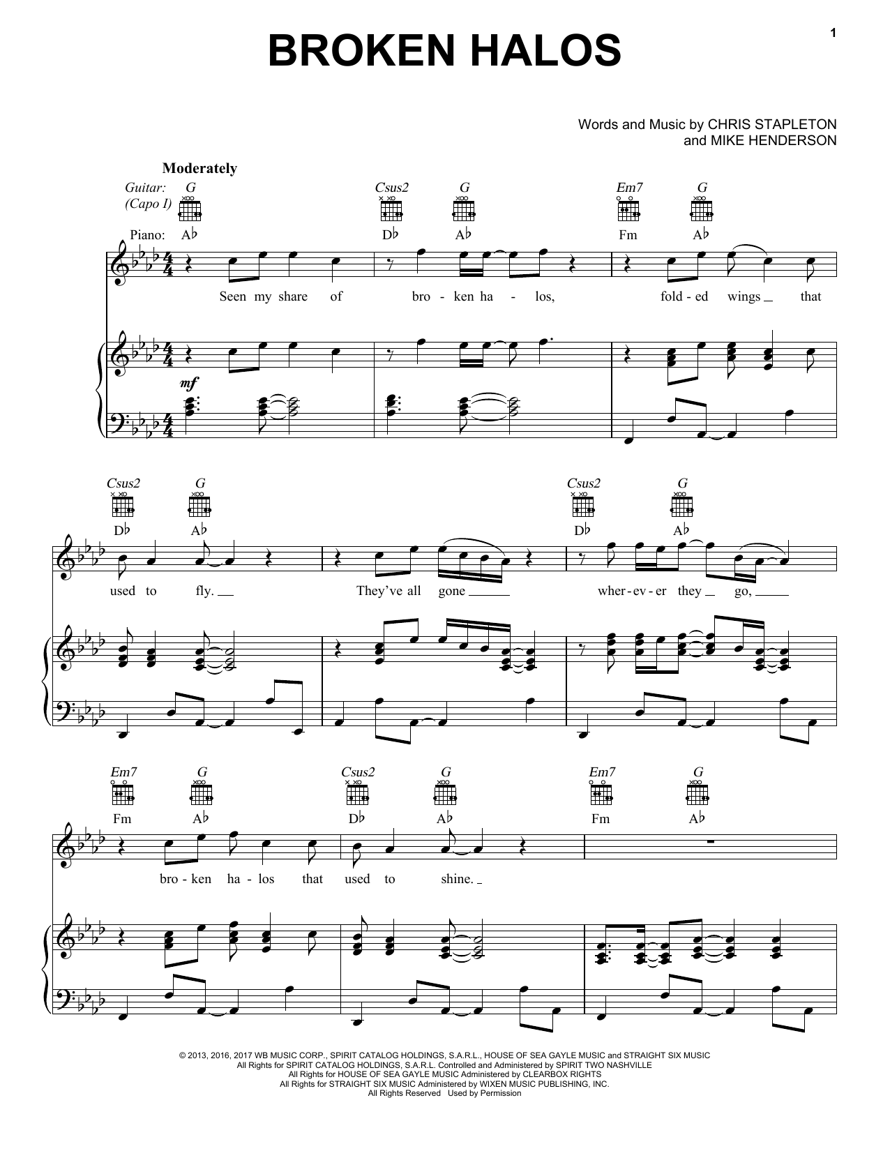 Chris Stapleton Broken Halos sheet music notes and chords. Download Printable PDF.