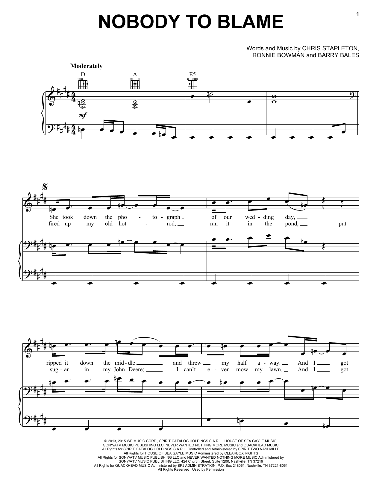Chris Stapleton Nobody To Blame sheet music notes and chords
