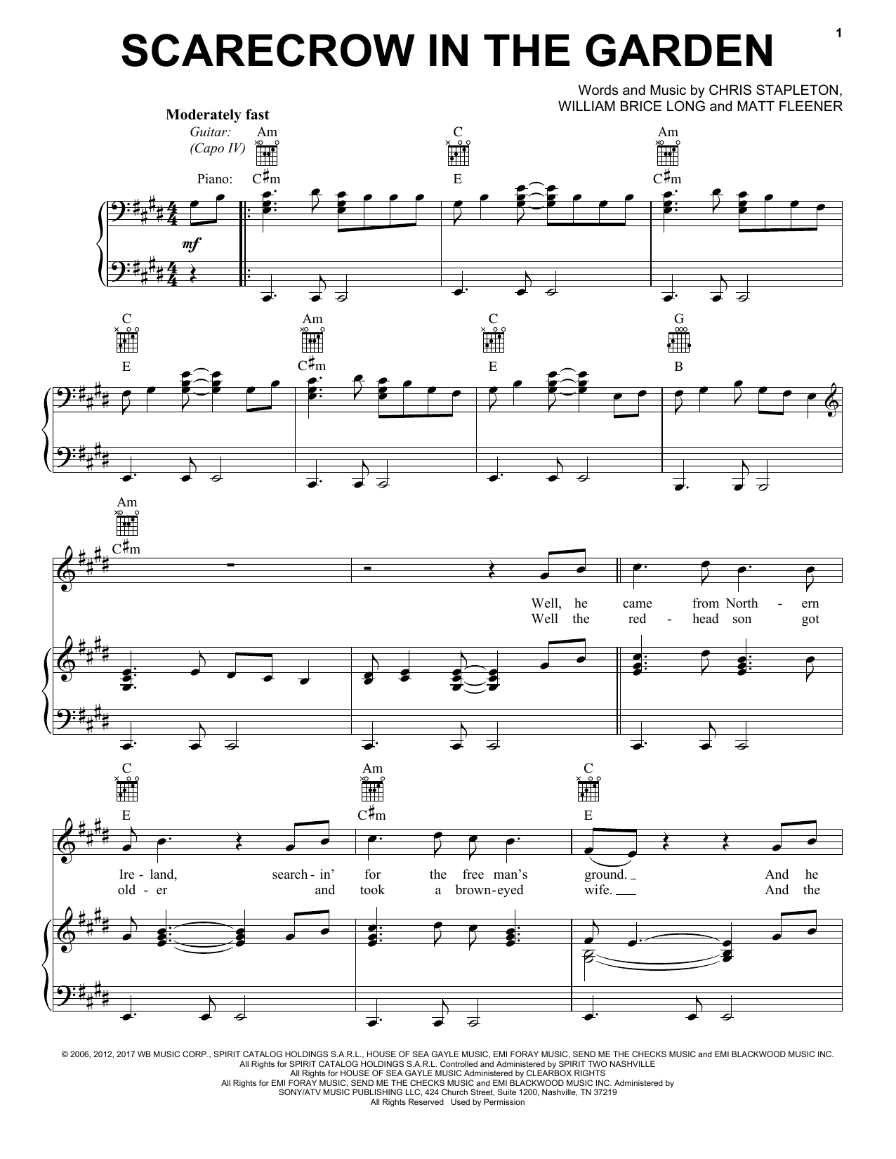 Chris Stapleton Scarecrow In The Garden Sheet Music Pdf Notes