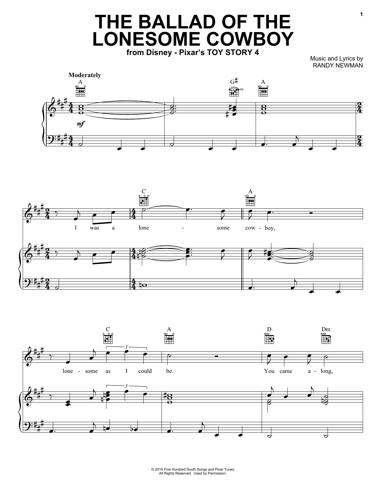 Chris Stapleton The Ballad Of The Lonesome Cowboy (from Toy Story 4) sheet music notes and chords. Download Printable PDF.