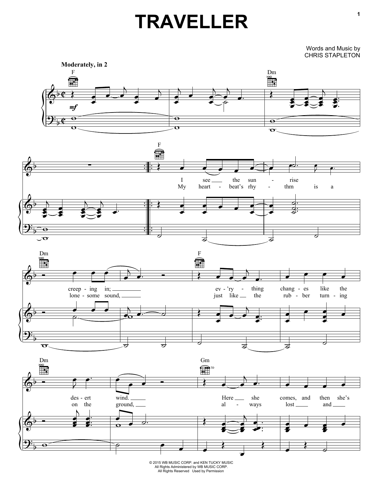 Chris Stapleton Traveller sheet music notes and chords. Download Printable PDF.