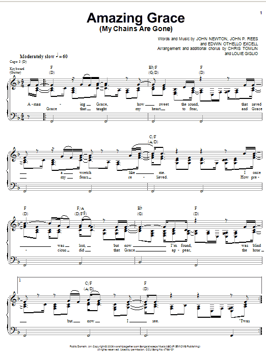 Chris Tomlin Amazing Grace (My Chains Are Gone) sheet music notes and chords. Download Printable PDF.