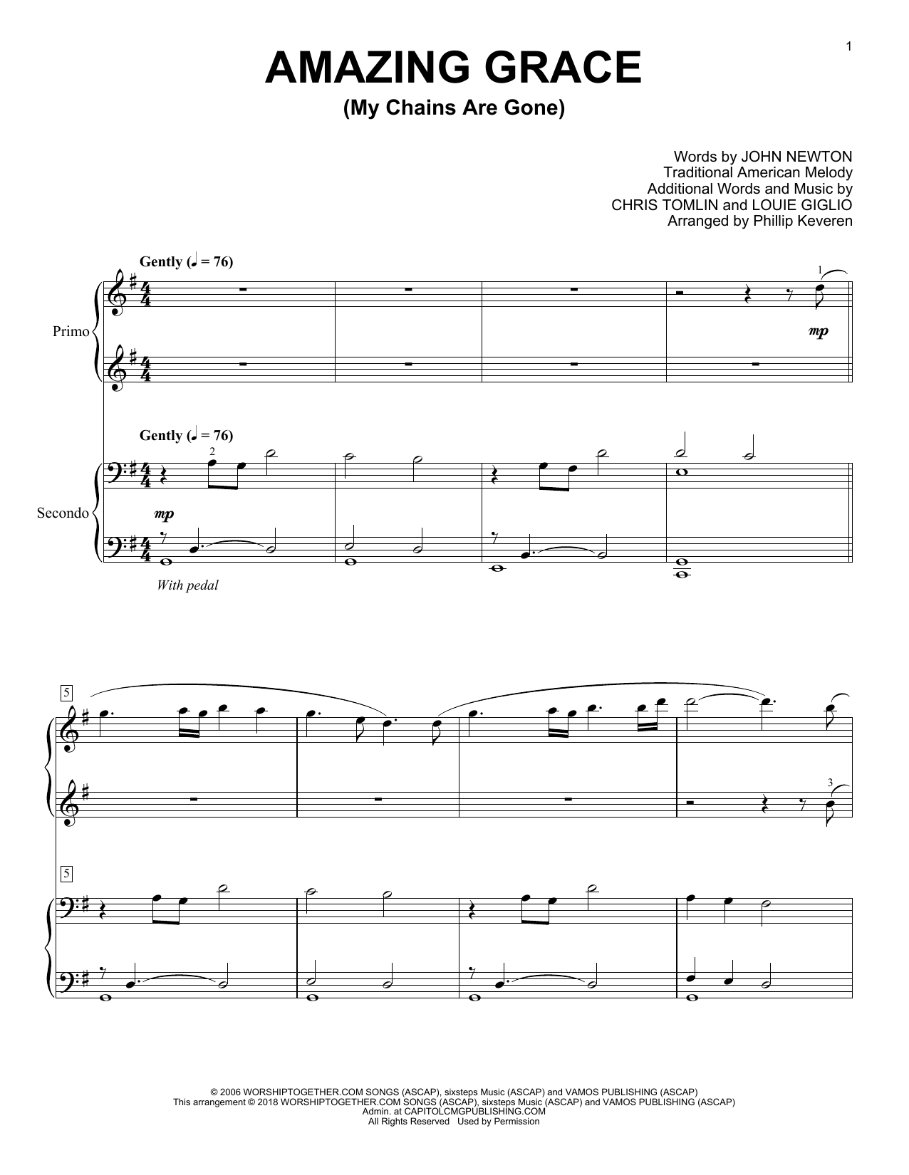 Chris Tomlin Amazing Grace (My Chains Are Gone) (arr. Phillip Keveren) sheet music notes and chords. Download Printable PDF.