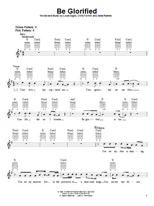 Chris Tomlin Be Glorified sheet music notes and chords. Download Printable PDF.