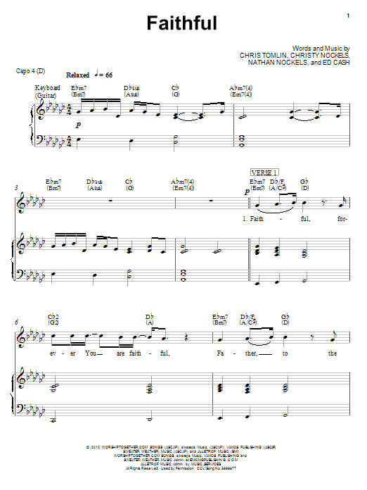 Chris Tomlin Faithful sheet music notes and chords
