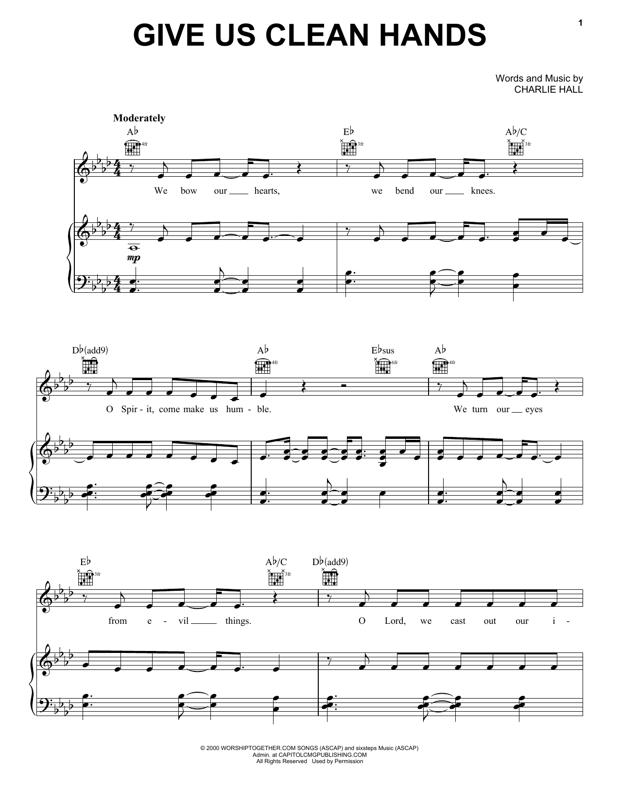 Chris Tomlin Give Us Clean Hands sheet music notes and chords. Download Printable PDF.
