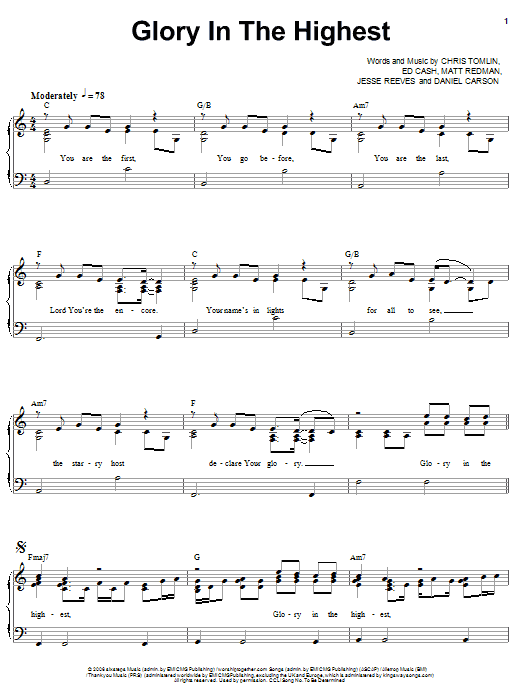 Chris Tomlin Glory In The Highest sheet music notes and chords