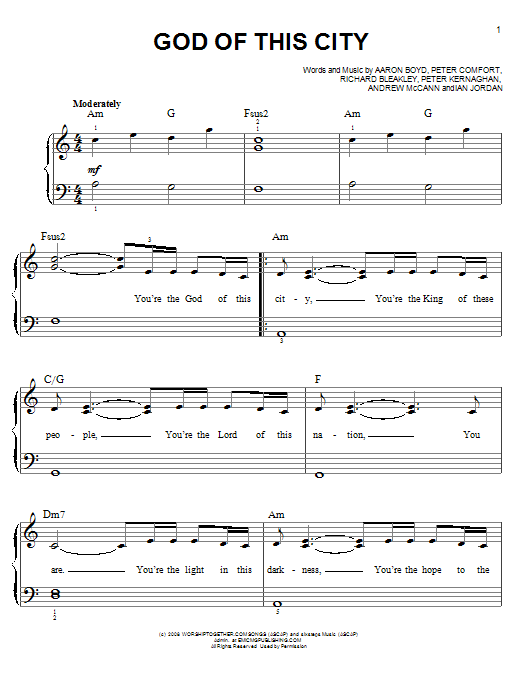 Chris Tomlin God Of This City sheet music notes and chords. Download Printable PDF.