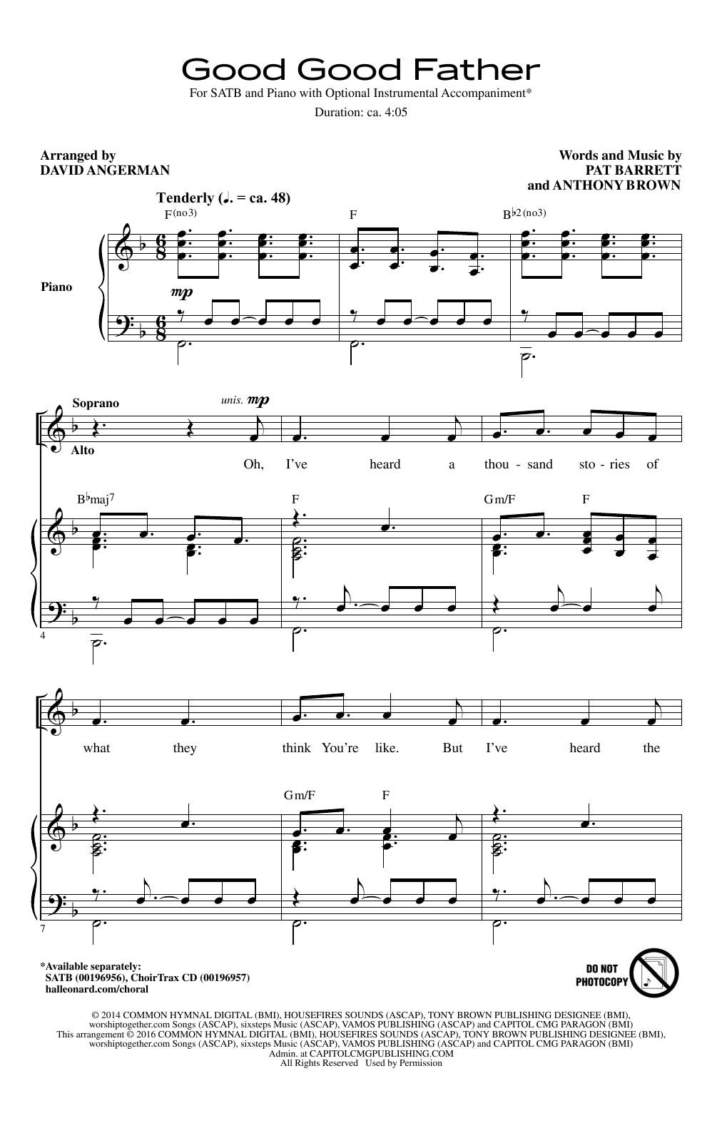 David Angerman Good Good Father sheet music notes and chords. Download Printable PDF.