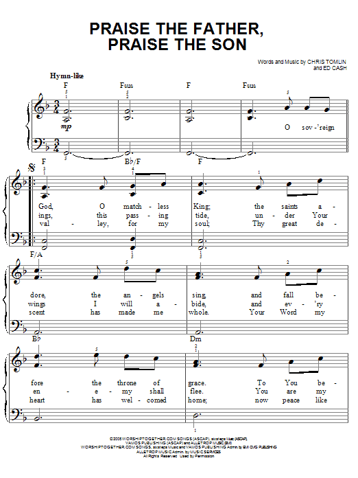 Chris Tomlin Praise The Father, Praise The Son sheet music notes and chords. Download Printable PDF.