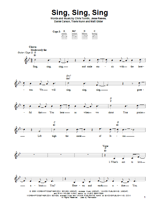Chris Tomlin Sing Sing Sing sheet music notes and chords. Download Printable PDF.
