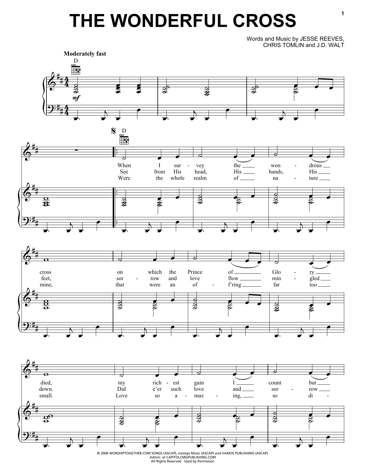 Chris Tomlin The Wonderful Cross sheet music notes and chords. Download Printable PDF.
