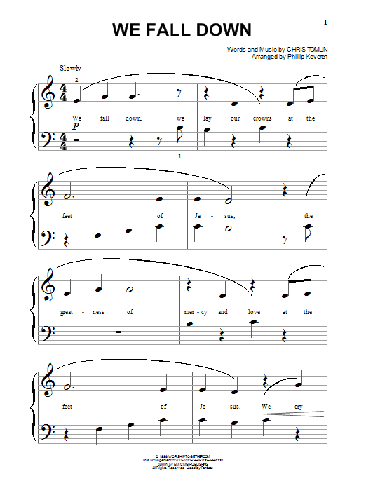 Chris Tomlin We Fall Down sheet music notes and chords