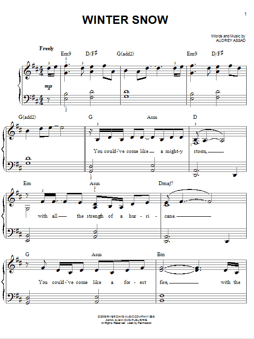 Chris Tomlin Winter Snow sheet music notes and chords. Download Printable PDF.
