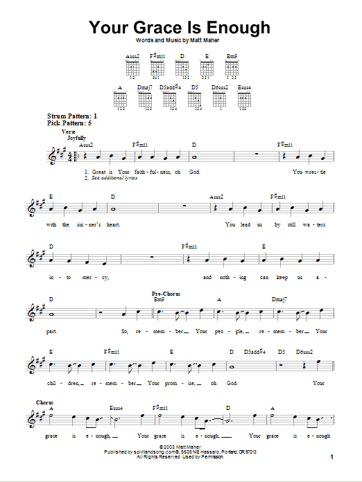Chris Tomlin Your Grace Is Enough sheet music notes and chords. Download Printable PDF.