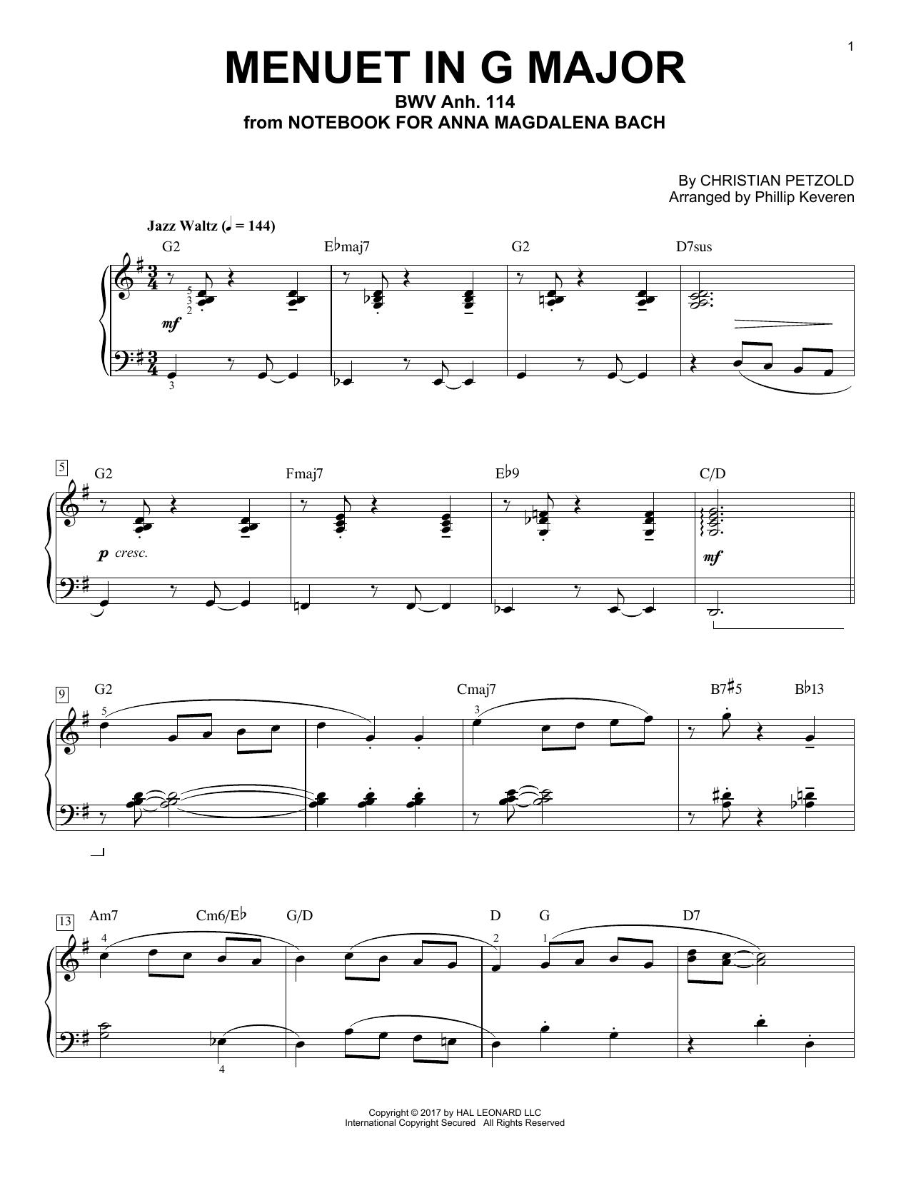 Christian Petzold Menuet In G Major, BMV Anh. 114 [Jazz version] (arr. Phillip Keveren) sheet music notes and chords. Download Printable PDF.