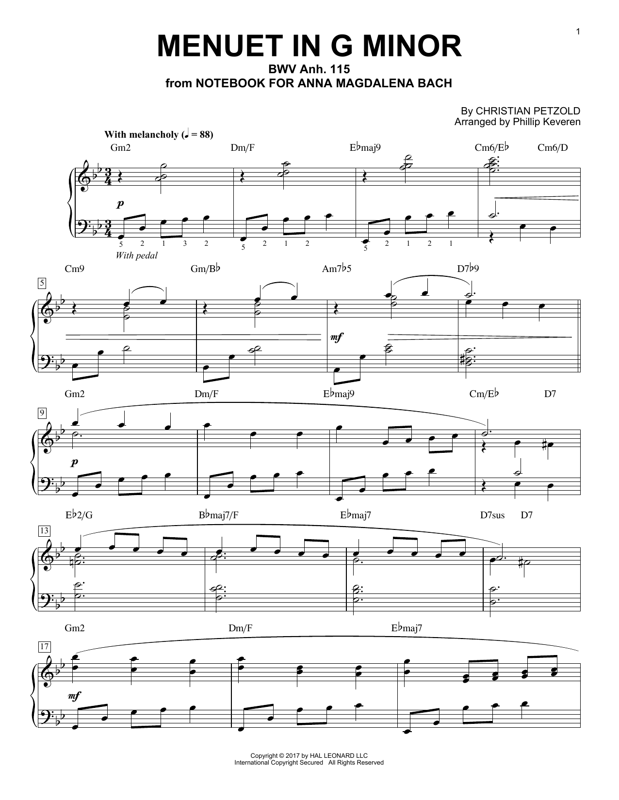 Christian Petzold Menuet In G Minor, BMV Anh. 115 [Jazz version] (arr. Phillip Keveren) sheet music notes and chords. Download Printable PDF.