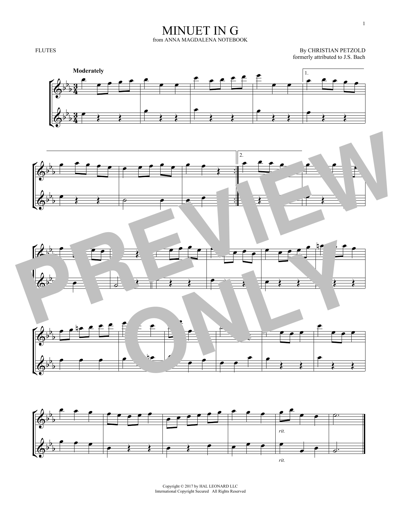 Christian Petzold Minuet In G Major, BWV Anh. 114 sheet music notes and chords