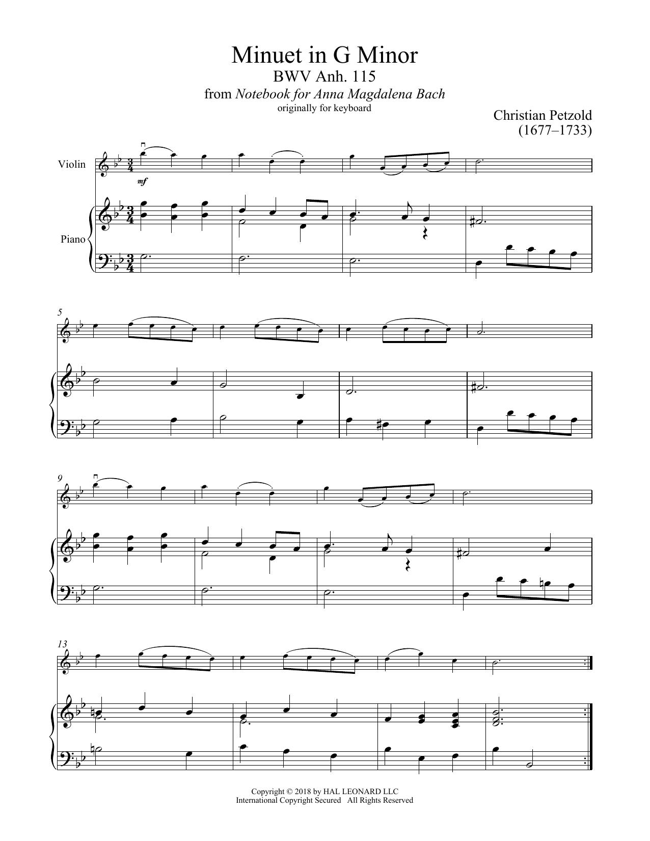 Christian Petzold Minuet In G Minor Bwv Anh 115 Sheet Music Notes Chords Download Printable Violin And Piano Sku 407627