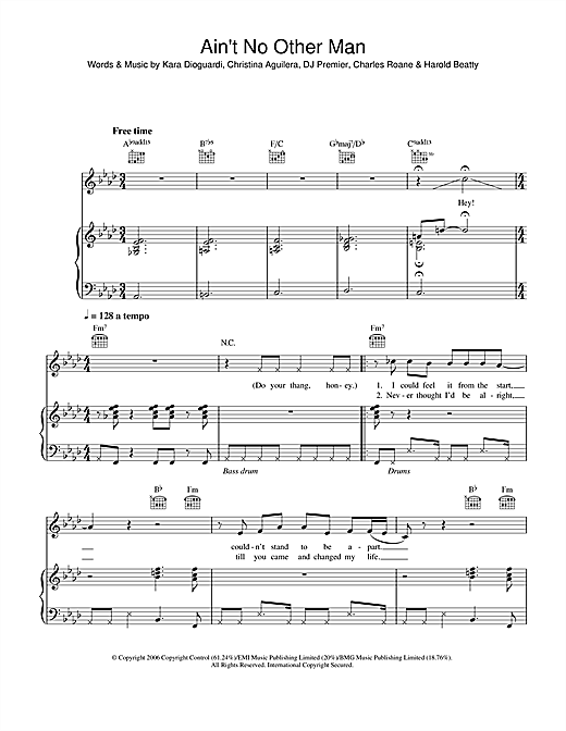 Christina Aguilera Ain't No Other Man sheet music notes and chords. Download Printable PDF.