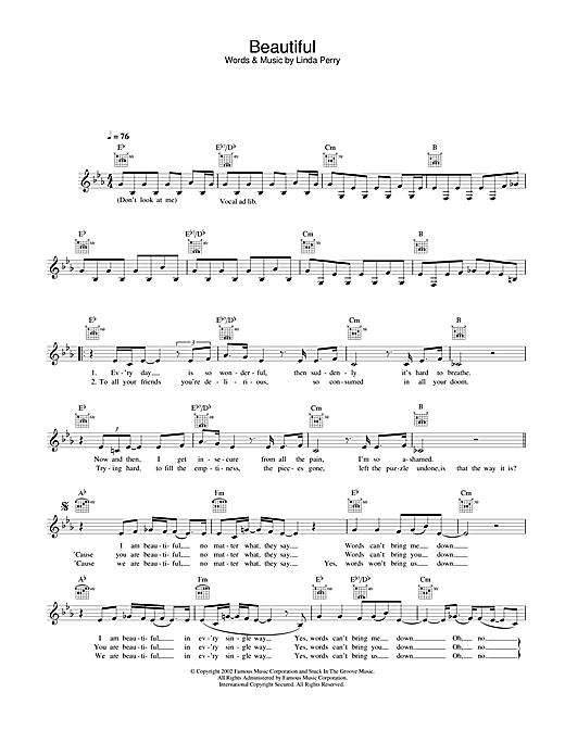 Christina Aguilera Beautiful sheet music notes and chords