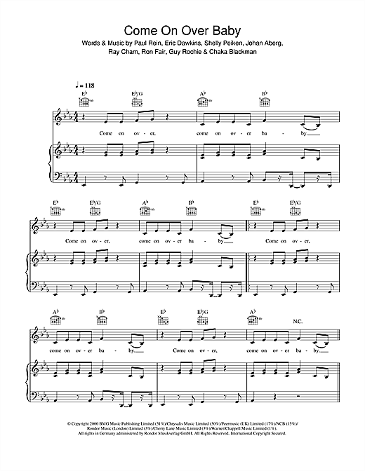 Christina Aguilera Come On Over Baby (All I Want Is You) sheet music notes and chords. Download Printable PDF.