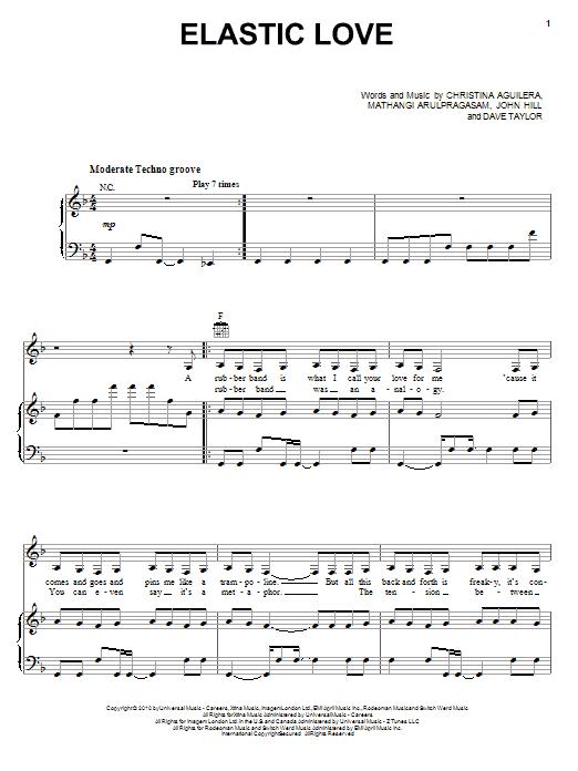 Christina Aguilera Elastic Love sheet music notes and chords. Download Printable PDF.