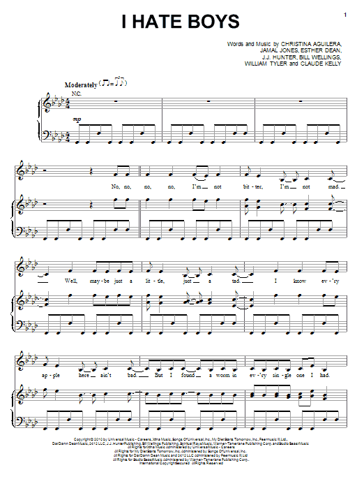 Christina Aguilera I Hate Boys sheet music notes and chords. Download Printable PDF.