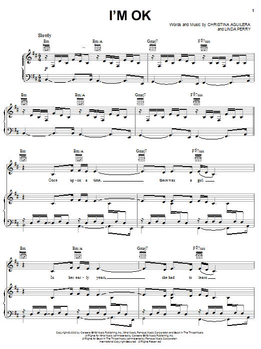 Christina Aguilera I'm OK sheet music notes and chords