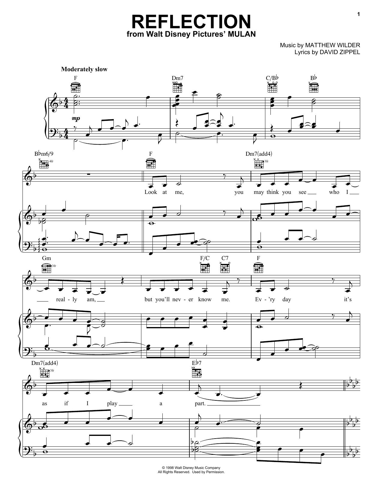 Christina Aguilera Reflection (Pop Version) (from Mulan) sheet music notes and chords. Download Printable PDF.