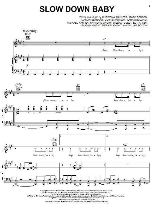Christina Aguilera Slow Down Baby Sheet Music Pdf Notes Chords Pop Score Piano Vocal Guitar Right Hand Melody Download Printable Sku 62436