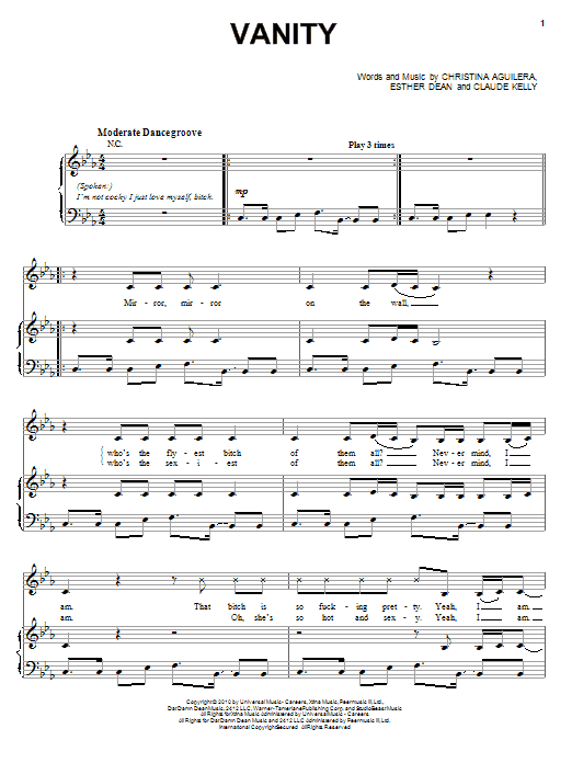 Christina Aguilera Vanity sheet music notes and chords. Download Printable PDF.