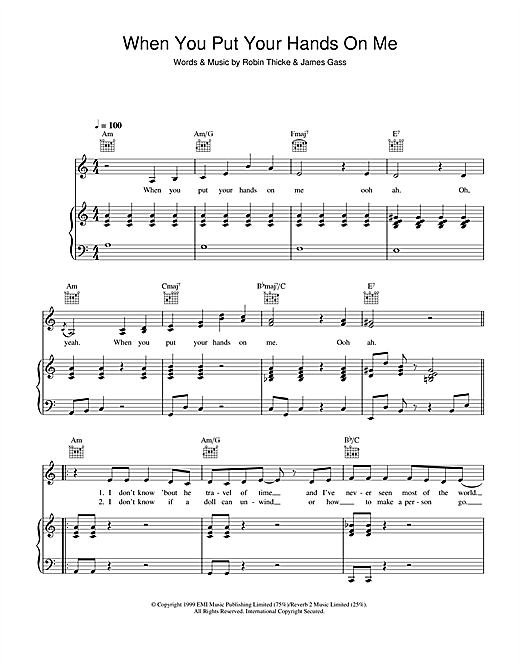 Christina Aguilera When You Put Your Hands On Me sheet music notes and chords. Download Printable PDF.