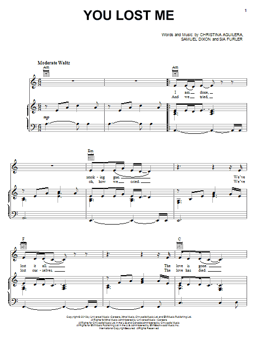 Christina Aguilera You Lost Me sheet music notes and chords. Download Printable PDF.