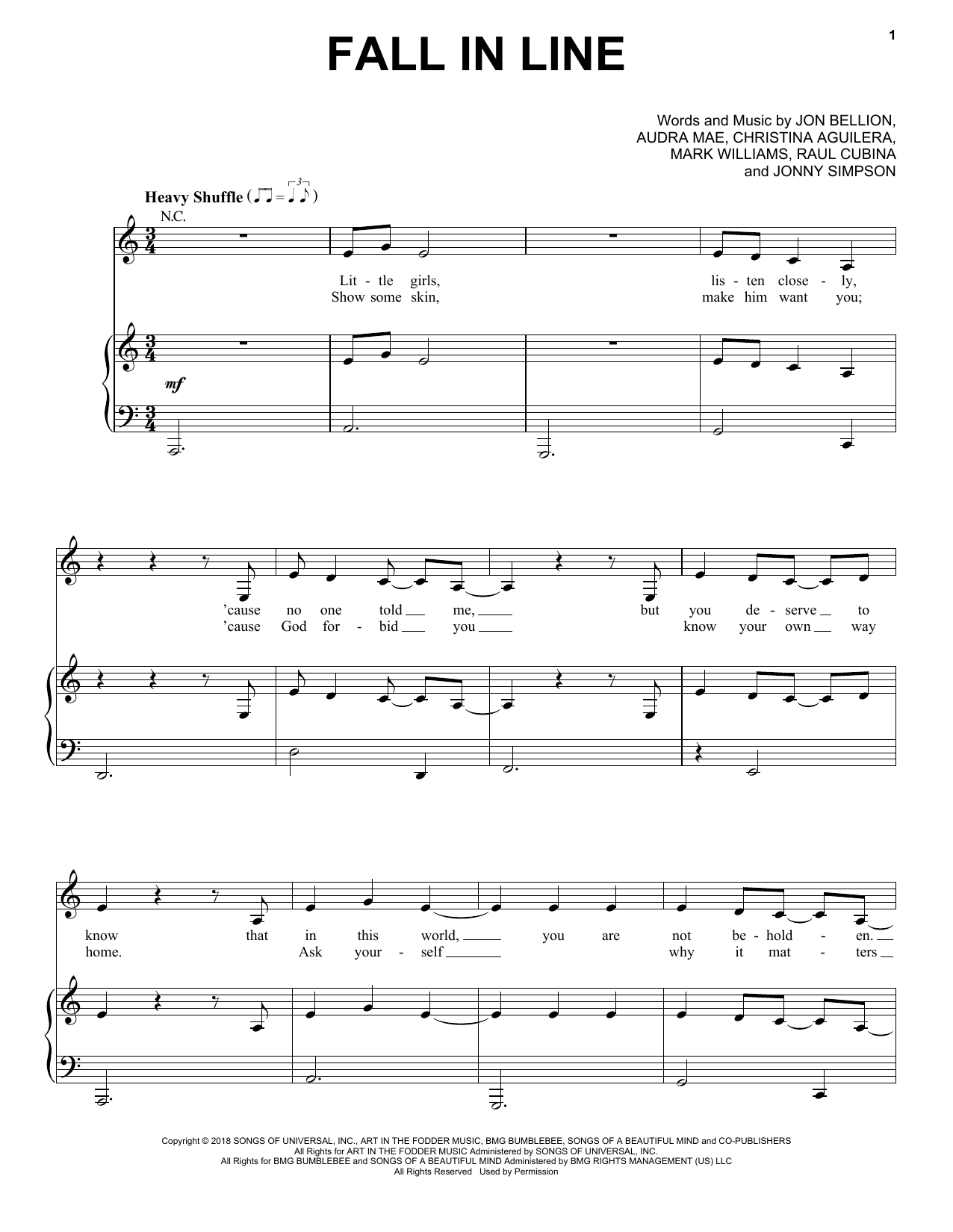 Christina Aguilera Fall In Line (feat. Demi Lovato) sheet music notes and chords. Download Printable PDF.