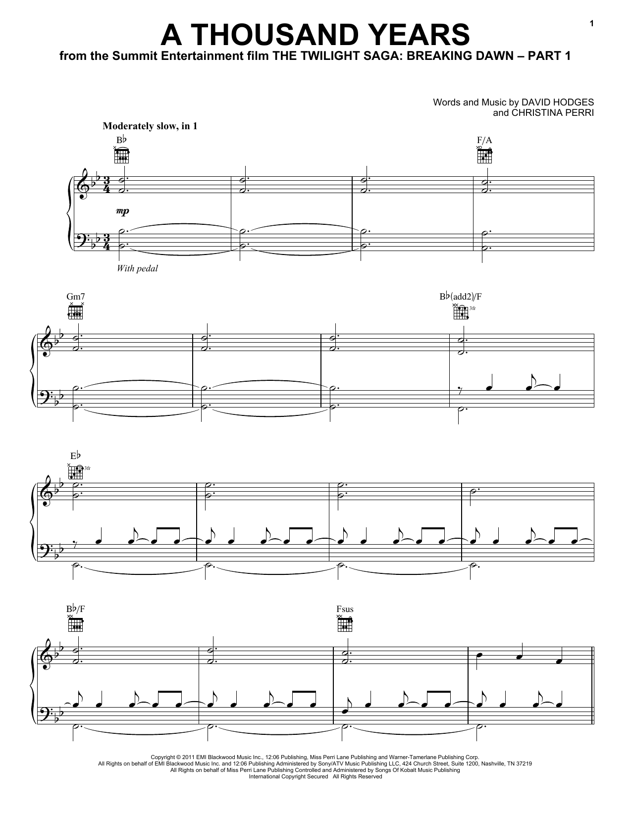 Christina Perri A Thousand Years sheet music notes and chords. Download Printable PDF.