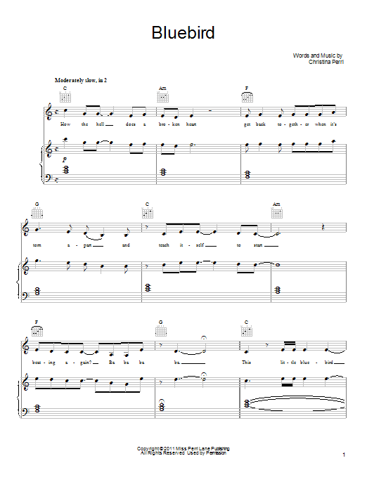 Christina Perri Bluebird sheet music notes and chords. Download Printable PDF.
