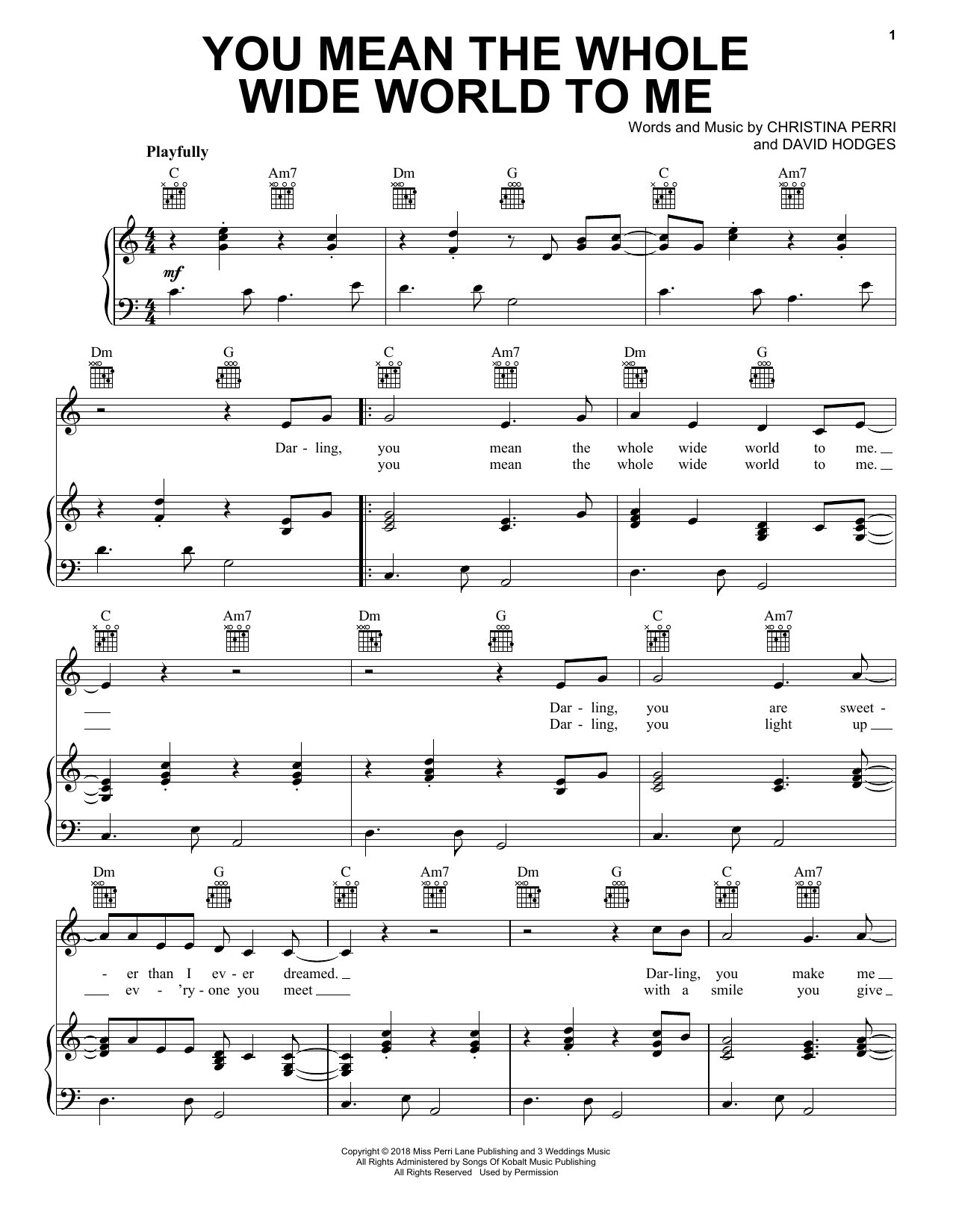 Christina Perri You Mean The Whole Wide World To Me sheet music notes and chords. Download Printable PDF.