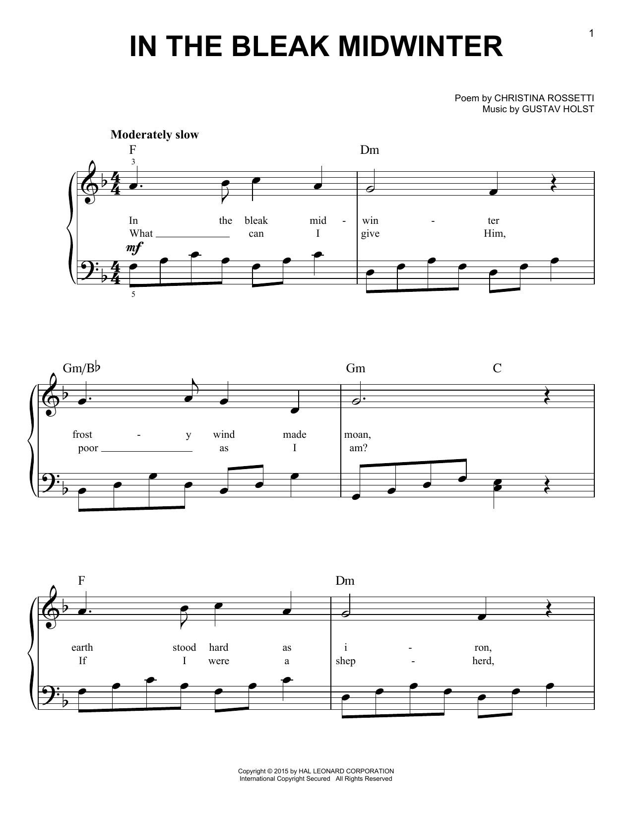 Christina Rossetti In The Bleak Midwinter sheet music notes and chords. Download Printable PDF.