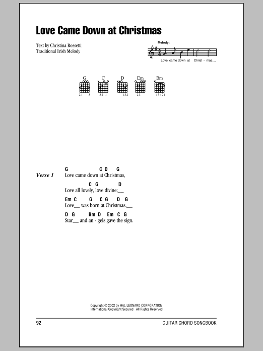 Christina Rossetti Love Came Down At Christmas sheet music notes and chords. Download Printable PDF.
