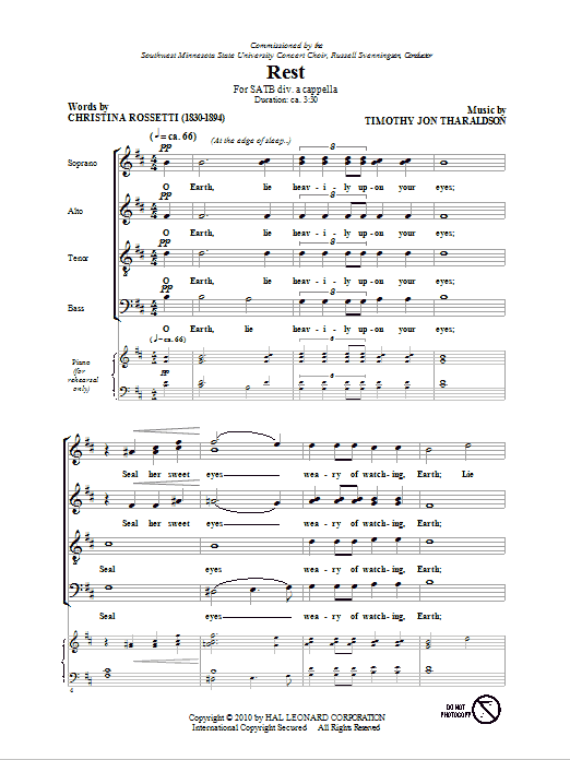 Christina Rossetti Rest sheet music notes and chords. Download Printable PDF.