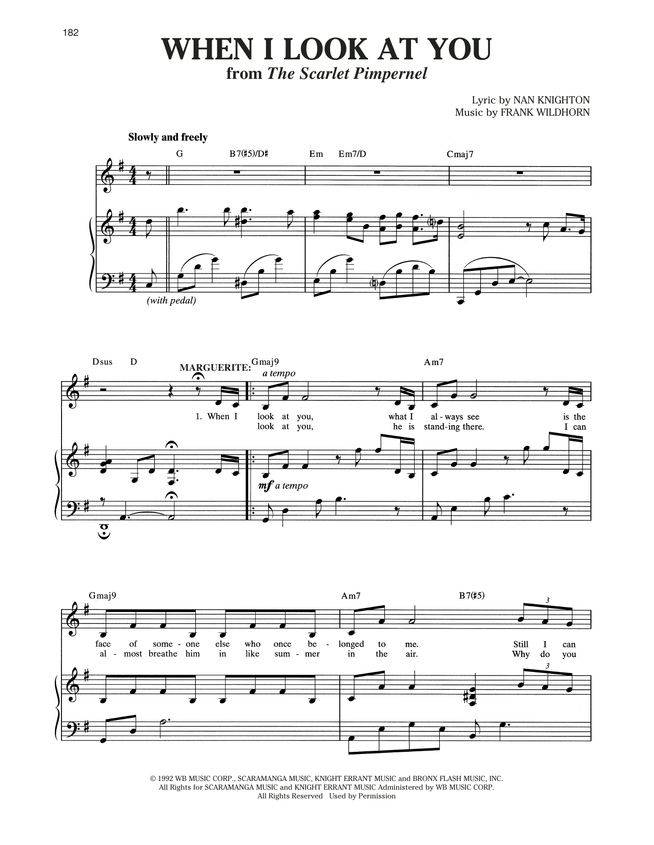Christine Andreas When I Look At You (from The Scarlet Pimpernel) sheet music notes and chords
