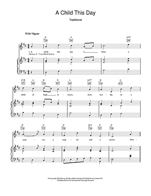Christmas Carol A Child This Day sheet music notes and chords