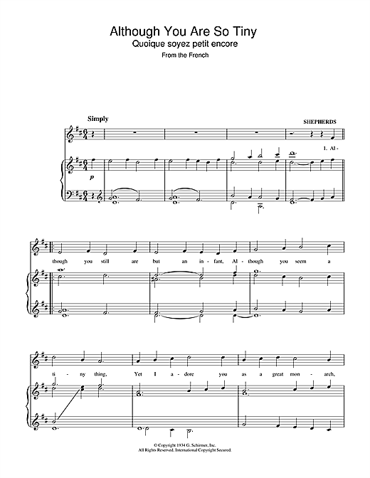 Christmas Carol Although You Are So Tiny sheet music notes and chords. Download Printable PDF.