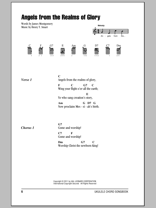 Christmas Carol Angels From The Realms Of Glory sheet music notes and chords