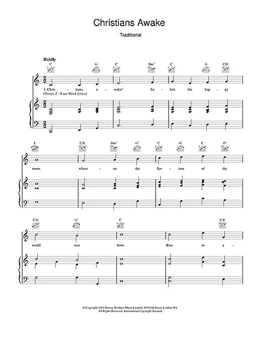 Christmas Carol Christians Awake sheet music notes and chords