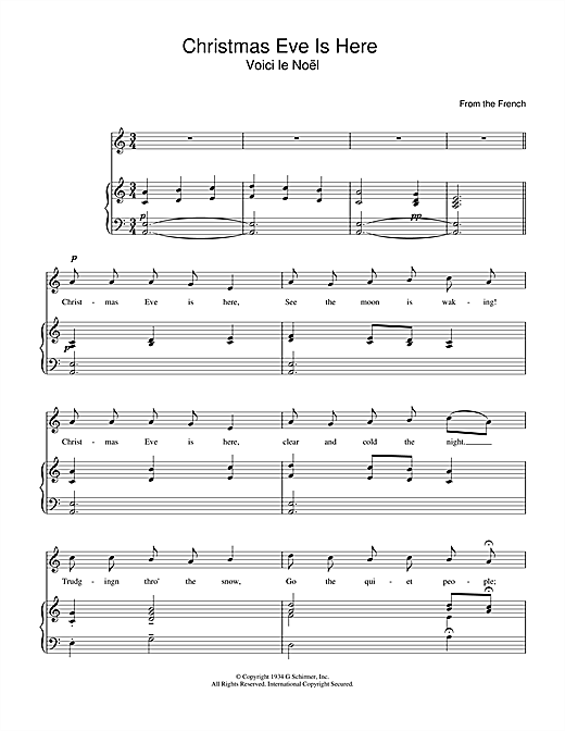 Christmas Carol Christmas Eve Is Here sheet music notes and chords. Download Printable PDF.