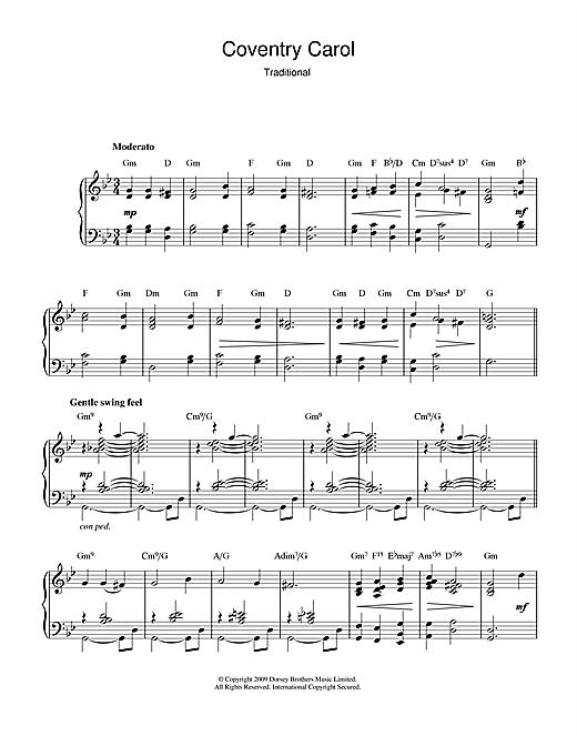 "Christmas Carol ""Coventry Carol (jazz version)"" Sheet Music PDF Notes, Chords | Traditional ..."