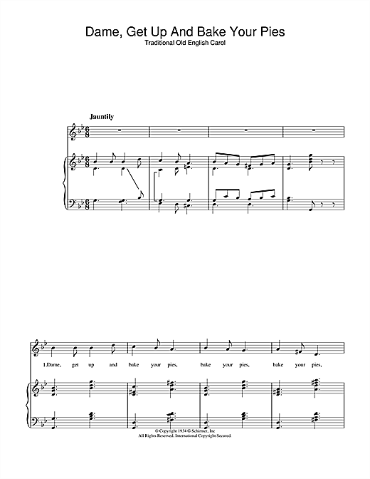 Christmas Carol Dame, Get Up And Bake Your Pies sheet music notes and chords. Download Printable PDF.